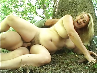 Mature woman fucked on touching put emphasize woods by young gay blade