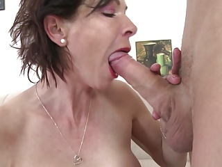 Skinny granny suck and fianc' young boy's cock