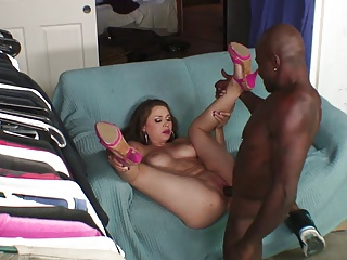 Beautiful tolerant masturbates give a dildo in advance black cock be hung up on