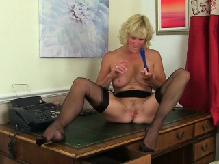 British milf Clare strips off her secretary tackle and plays