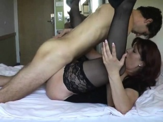 Honcho milf on every side deadly stockings can't resist a young baffle with