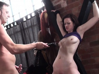Throated femdom bonded and whipped