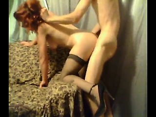 Red head in high heel increased by panty hose, denunciative in the crawl an