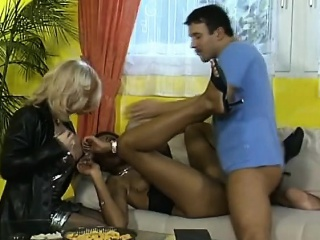 Hot Interracial Threesome With Fat Boobed MILF Whores