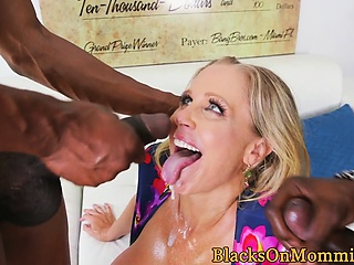 Busty milf railed less interracial trine