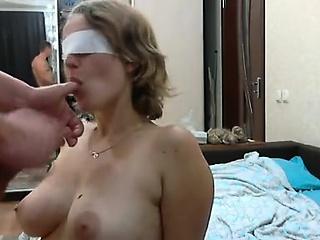 Busty slut that is blindfolded sucks penis of newcomer disabuse of
