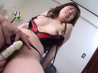 Stunner Chinatsu gets their way hairy pussy dildoded and boobs spra