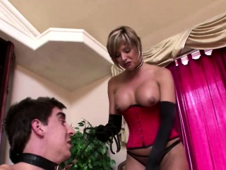 Hot domina degrades her slave