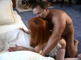 Redhead hottie in sexy skivvies gets her moist crevice filled with dick