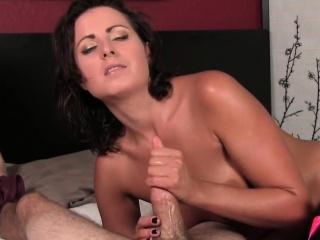 Spruce milf stroking cock sensually