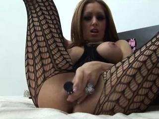 Round breast milf masturbating near black vibrator