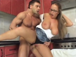 Torrid blonde with huge tits rides a cock like there's no to be to come