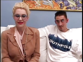 Hot Cougar in Stockings Gets Fucked by young man