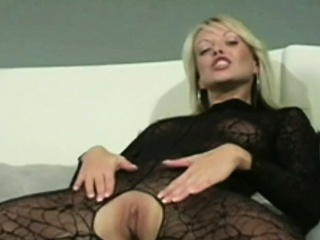 Sexy Tow-haired Fingers Himself in Lacey Pantyhose