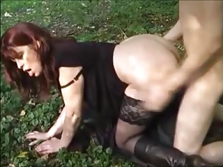 hot milf with the addition of young house-servant in alfresco have sexual intercourse