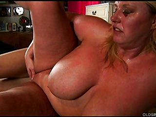 Magnificent big tits gilded old spunker enjoys a facial cumshot