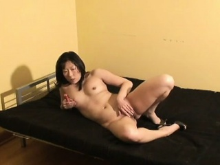Asian become man wears solo heels while toying her trimmed twat