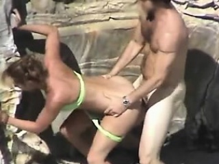 Clumsy coupler doggystyle sex between assignments
