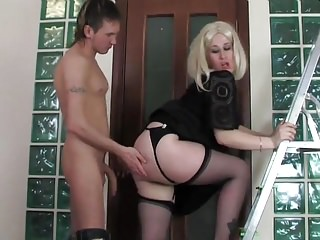 Guy fucked of age maid