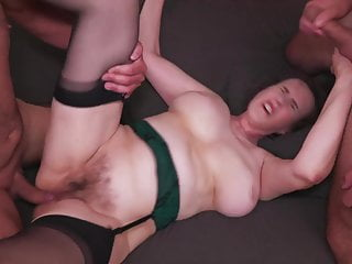 Perishable matured maw fucked by 3 boys in all holes