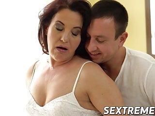 Curvy redhead granny takes hanker young cock balls deep