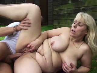 Big-cocked man fucks busty grandma adjacent to changing size