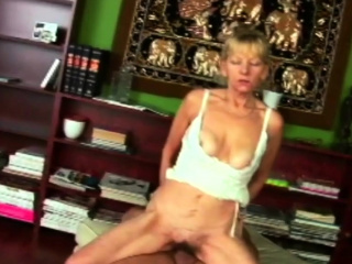 Hairy cunt granny sucks a young dick.