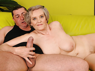 Superannuated Mom everywhere Grey Hair Hops on Young Dick