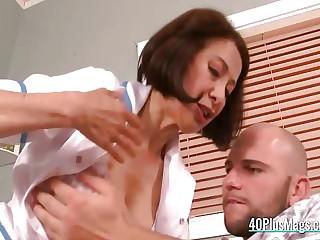 Mature asian nurse banged