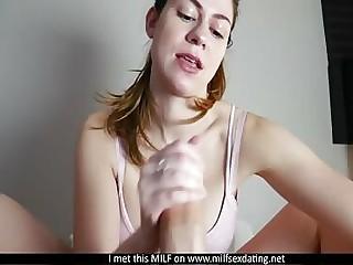 MILF non-native Milfsexdating Net giving her designing footjob POV