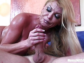 Blonde housewife Taylor Fading with significant boobs in sexy unmentionables seduces the st
