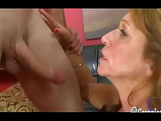 Scalding Granny With Comely Boobs Gets Creampied Away from Huge Young Blarney