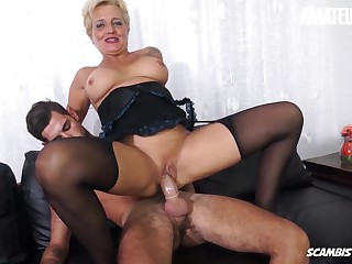 AMATEUREURO - Italian Grandma Enjoys Young Big Dick Relative to Say no to Ass