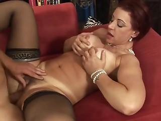 Soft mature babe near tan line rides a heavy dick