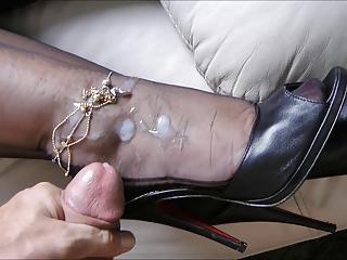 Hot milf getting cum on her heels