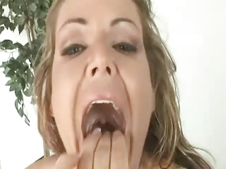 Naughty Milf swallows 10 cumshots GANGBANG