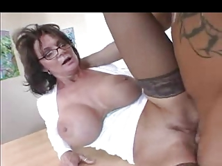 Busty Milf Tutor thither Stockings Fucks