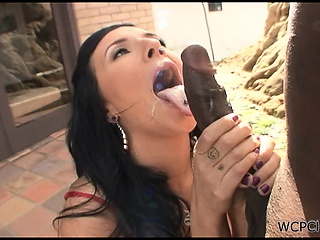 Morose ill-lighted gets a big black cock close by her pussy